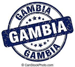 Gambia blue grunge round vintage rubber stamp