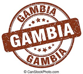 Gambia brown grunge round vintage rubber stamp