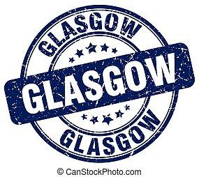 Glasgow blue grunge round vintage rubber stamp