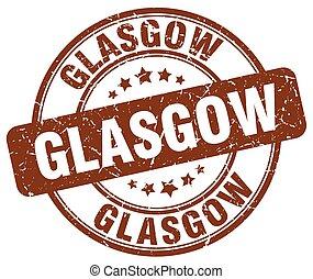 Glasgow brown grunge round vintage rubber stamp
