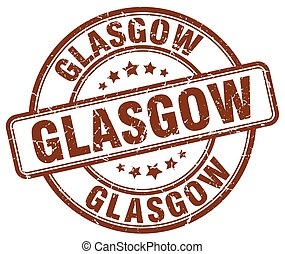 Glasgow brown grunge round vintage rubber stamp