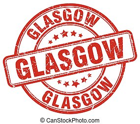 Glasgow red grunge round vintage rubber stamp