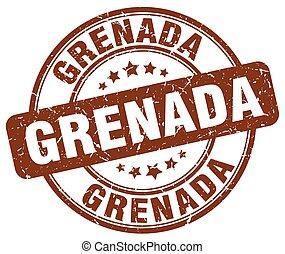 Grenada brown grunge round vintage rubber stamp