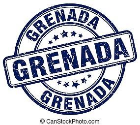Grenada blue grunge round vintage rubber stamp