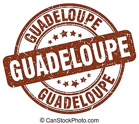 Guadeloupe brown grunge round vintage rubber stamp