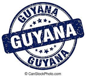Guyana blue grunge round vintage rubber stamp