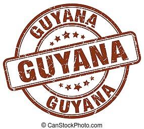 Guyana brown grunge round vintage rubber stamp