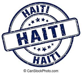 Haiti blue grunge round vintage rubber stamp