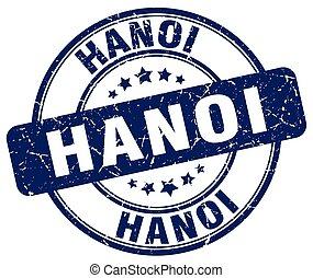 Hanoi blue grunge round vintage rubber stamp