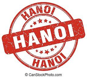 Hanoi red grunge round vintage rubber stamp