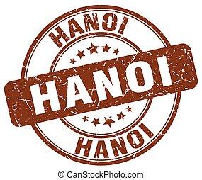 Hanoi brown grunge round vintage rubber stamp