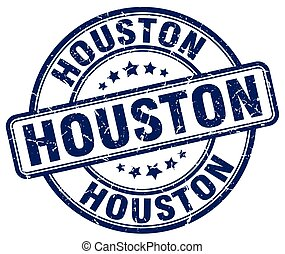 Houston blue grunge round vintage rubber stamp