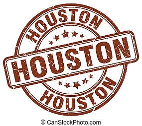 Houston brown grunge round vintage rubber stamp
