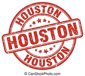 Houston red grunge round vintage rubber stamp