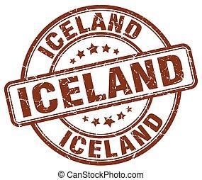 Iceland brown grunge round vintage rubber stamp