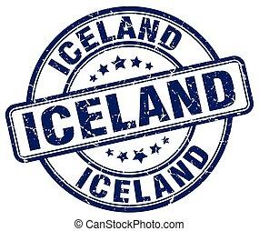 Iceland blue grunge round vintage rubber stamp