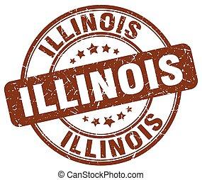 Illinois brown grunge round vintage rubber stamp