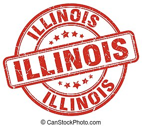 Illinois red grunge round vintage rubber stamp