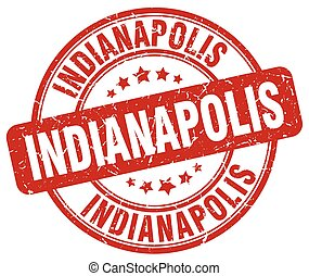 Indianapolis red grunge round vintage rubber stamp