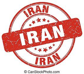 Iran red grunge round vintage rubber stamp