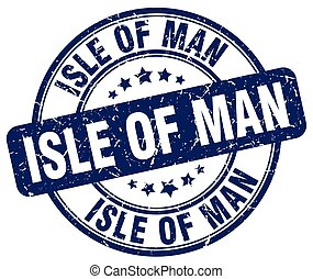 Isle Of Man blue grunge round vintage rubber stamp
