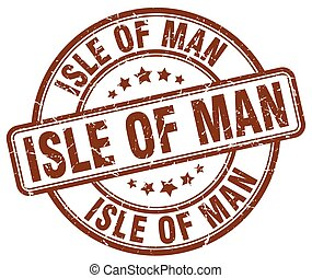 Isle Of Man brown grunge round vintage rubber stamp
