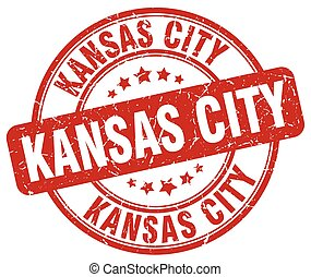Kansas City red grunge round vintage rubber stamp