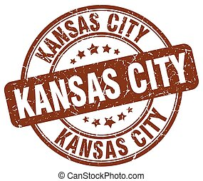 Kansas City brown grunge round vintage rubber stamp