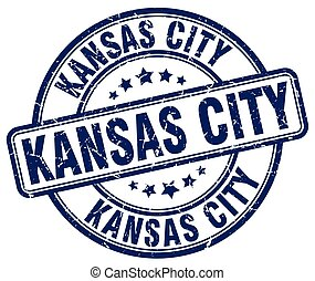 Kansas City blue grunge round vintage rubber stamp