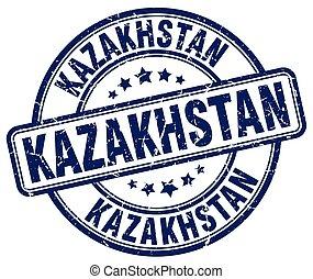 Kazakhstan blue grunge round vintage rubber stamp