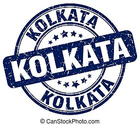 Kolkata blue grunge round vintage rubber stamp