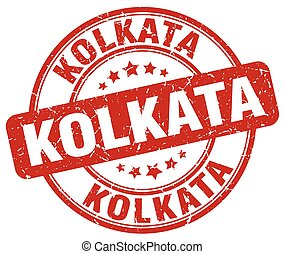 Kolkata red grunge round vintage rubber stamp
