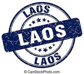 Laos blue grunge round vintage rubber stamp