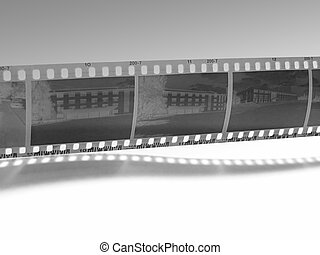 b&w film strip - b&w film strip with shadow...