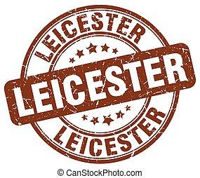 Leicester brown grunge round vintage rubber stamp