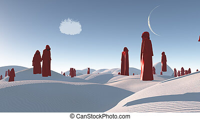 figures in red robes in the desert