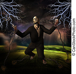 man chained to ground with storm in background