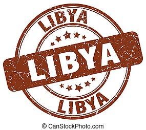 Libya brown grunge round vintage rubber stamp