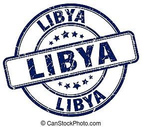 Libya blue grunge round vintage rubber stamp