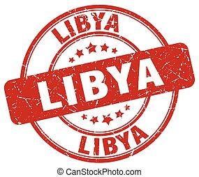 Libya red grunge round vintage rubber stamp