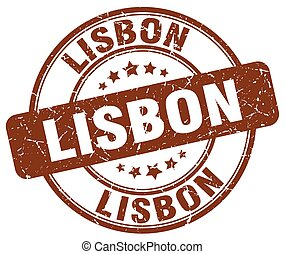 Lisbon brown grunge round vintage rubber stamp
