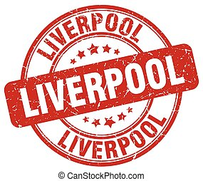 Liverpool red grunge round vintage rubber stamp