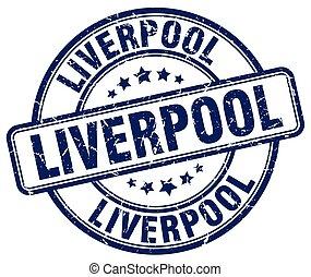 Liverpool blue grunge round vintage rubber stamp