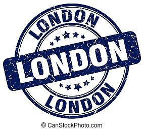 London blue grunge round vintage rubber stamp