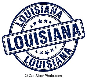 Louisiana blue grunge round vintage rubber stamp