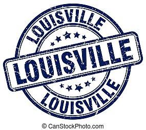 Louisville blue grunge round vintage rubber stamp