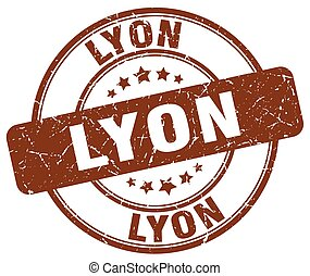 Lyon brown grunge round vintage rubber stamp