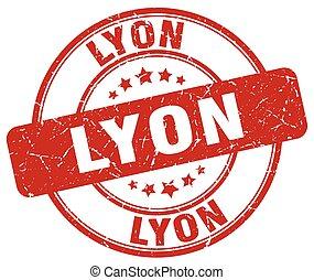 Lyon red grunge round vintage rubber stamp