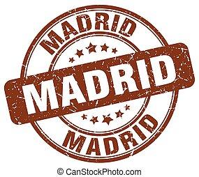 Madrid, brun, grunge, rond, vendange, caoutchouc, timbre