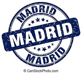 Madrid blue grunge round vintage rubber stamp